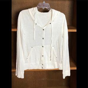 Eileen Fisher white linen snap hoodie cardigan